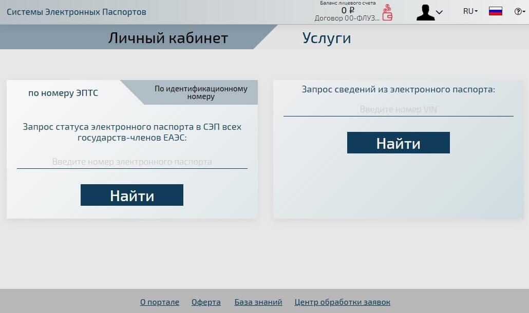 Личный кабинет Системы Электронных Паспортов