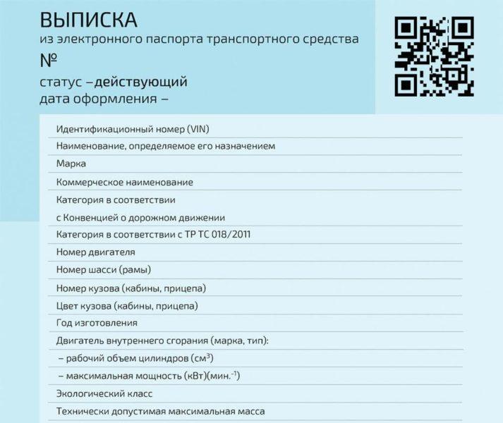 Выписка из электронного паспорта транспортного средства